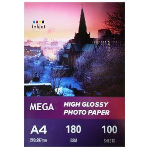 کاغذ عکس مگا مدل High Glossy 180gr سایز A4 بسته 100 عددی