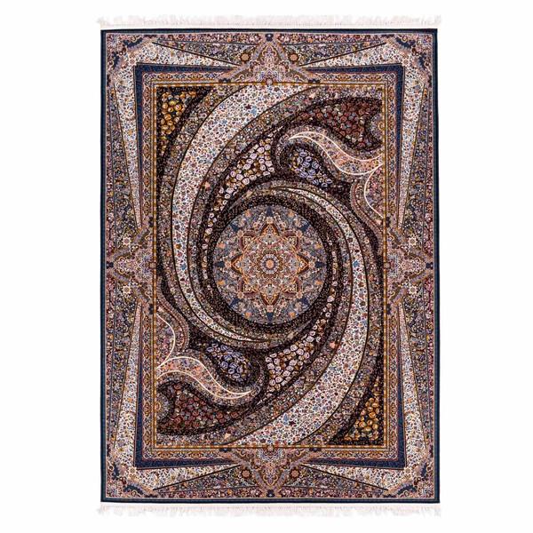 فرش ماشینی کهکشان پارسه کد FSM125 زمینه سرمه ای