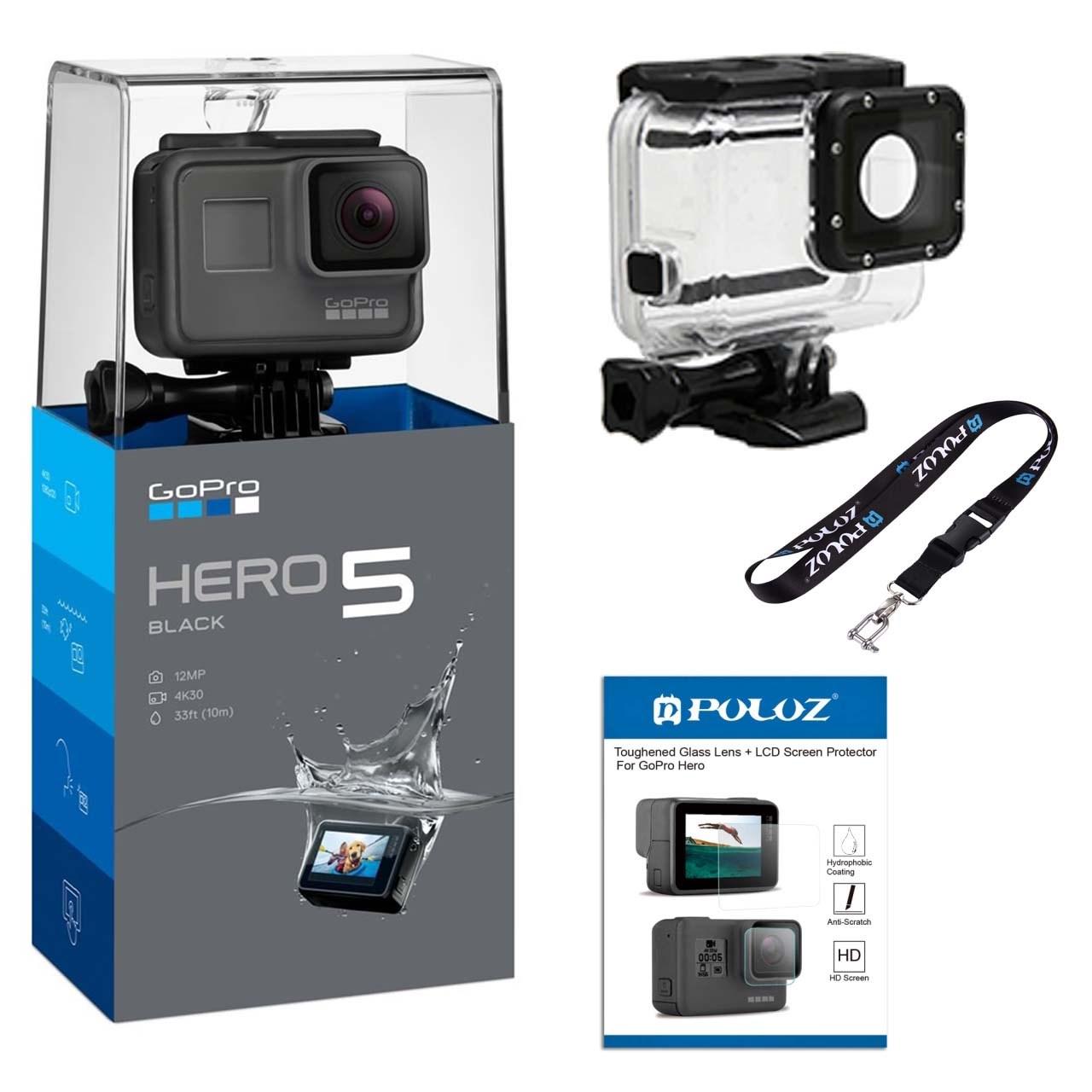 مجموعه دوربین فیلم برداری ورزشی گوپرو مدل HERO5 Black Quick Stories همراه با قاب ضد آب لمسی و بند آویز و محافظ صفحه پلوز