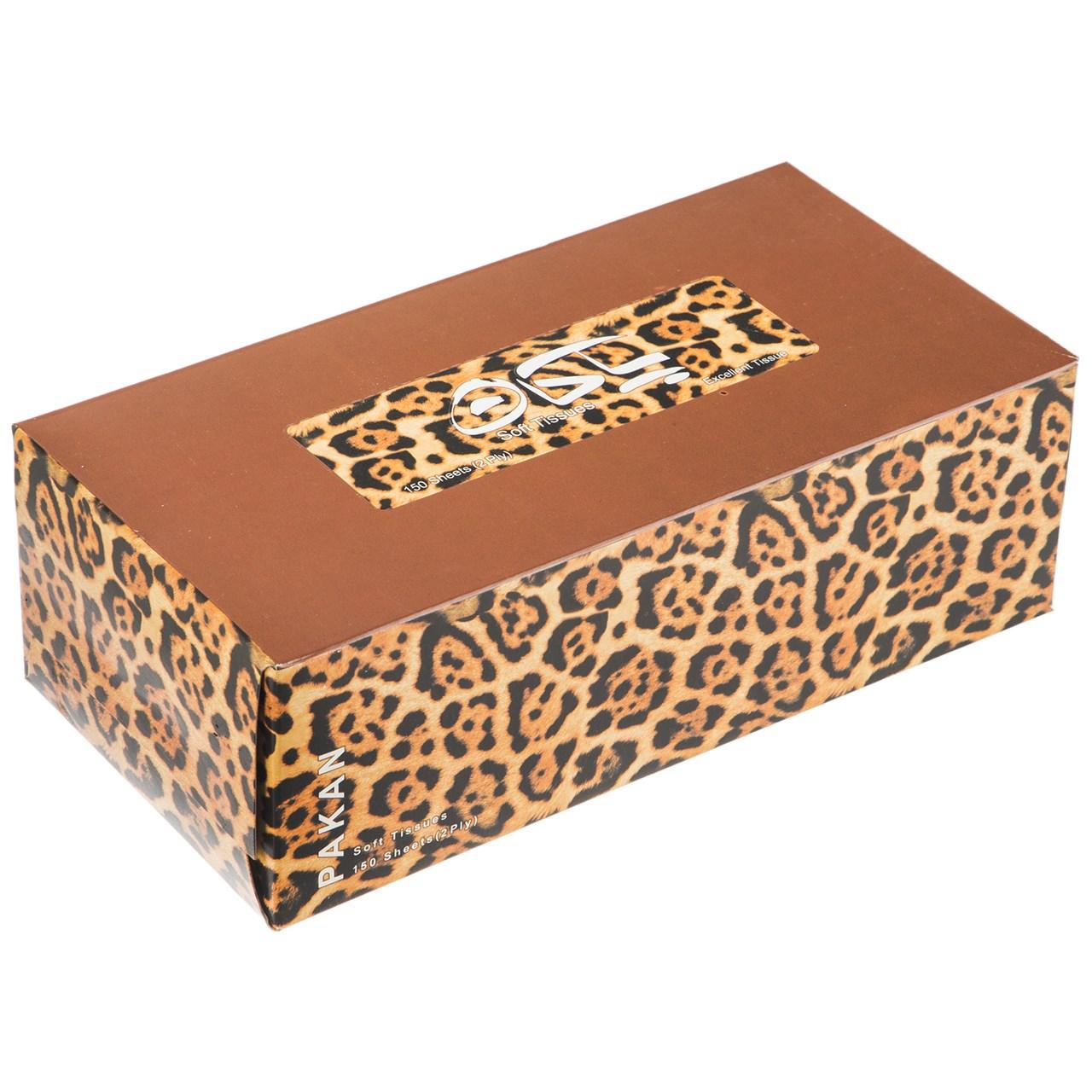 دستمال کاغذی 150 برگ پاکان مدل Leopard