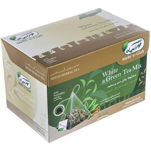 دمنوش گیاهی چای سبز و سفید مهر گیاه بسته 14 عددی