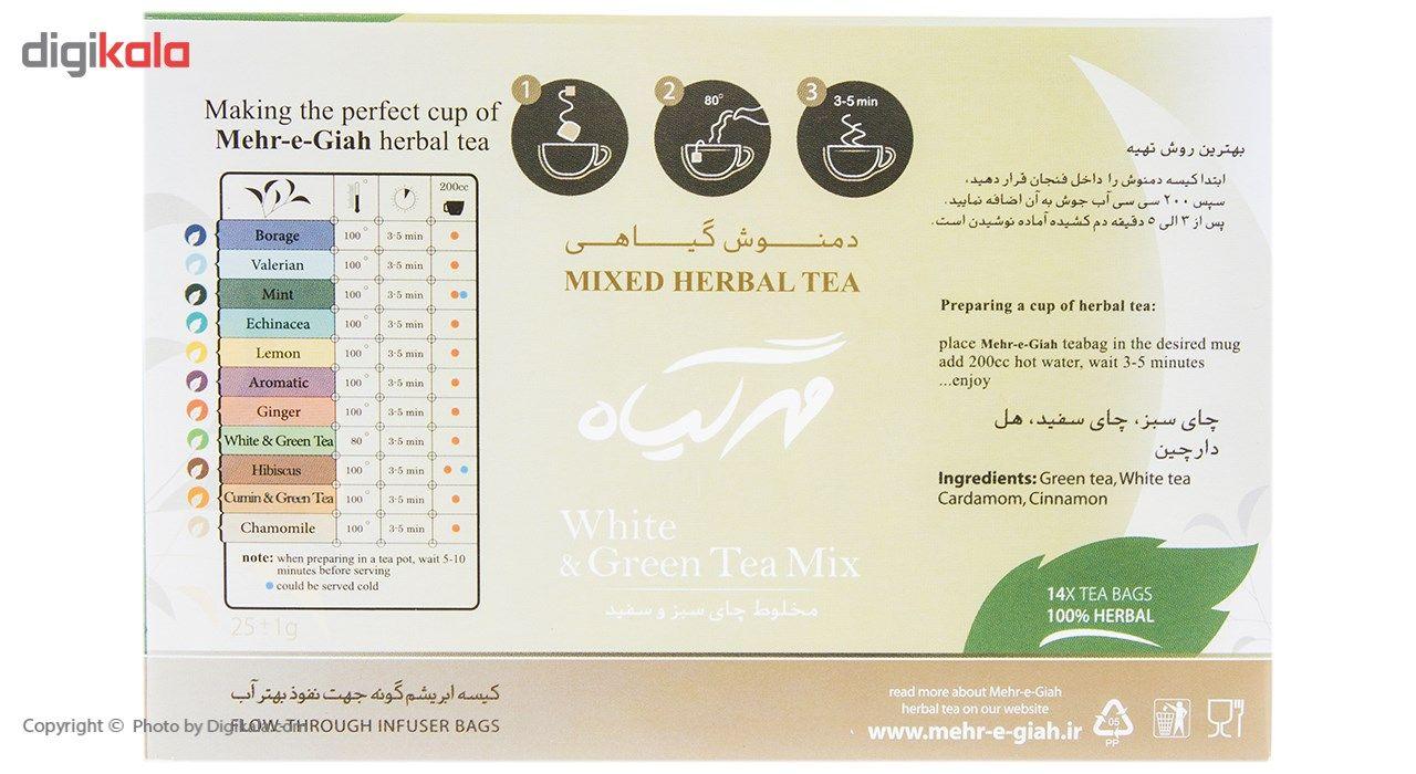 دمنوش گیاهی چای سبز و سفید مهرگیاه بسته 14 عددی main 1 5