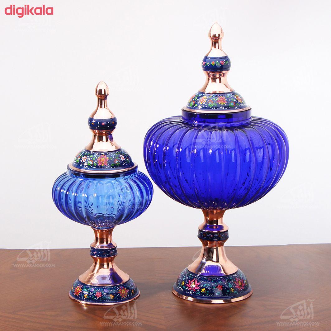 شکلات خوری پایه دار مس و پرداز رنگ آبی تیره طرح آبگینه مدل 1001200036 main 1 2