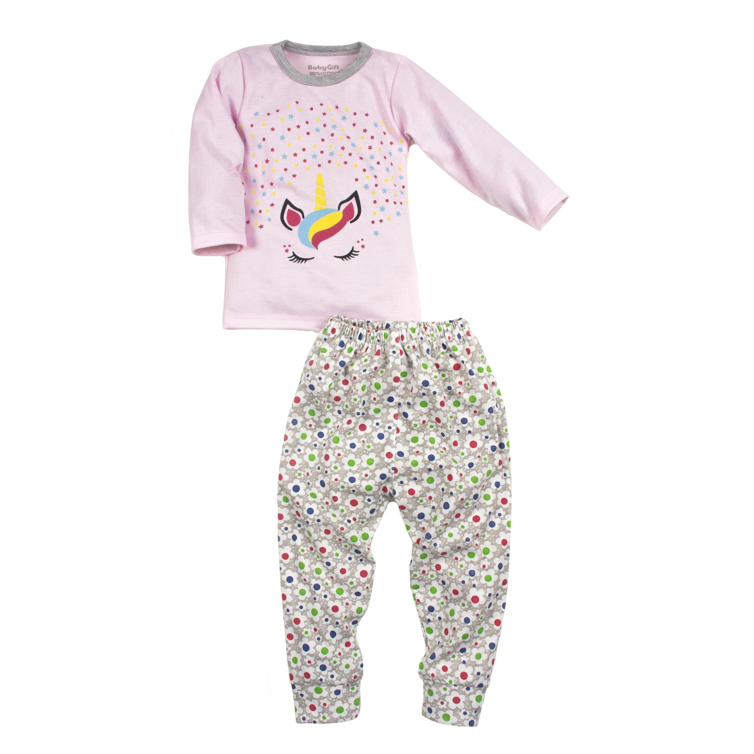 ست تی شرت و شلوار نوزادی دخترانه مدل تک شاخ کد 55