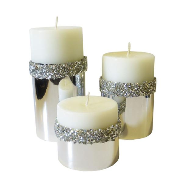 شمع استوانه طرح سنگی مجموعه 3 عددی