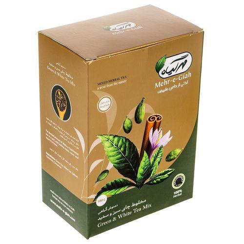 دمنوش گیاهی مخلوط چای سبز و سفید مهر گیاه مقدار 100 گرم