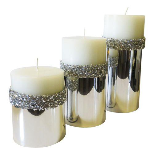 شمع استوانه طرح سنگی 5 مجموعه 3 عددی