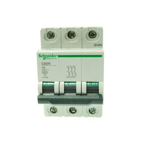 بسته 4 عددی فیوز مینیاتوری سه پل 6 آمپر اشنایدر الکتریک سری  C60N مدل 24348