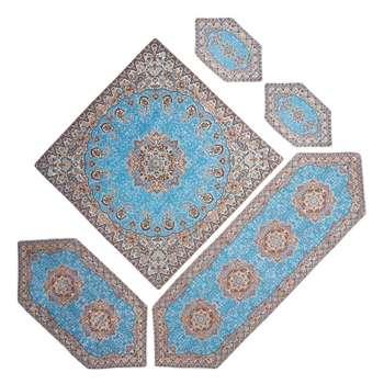 ست 5 تکه رومیزی ترمه خانه ترمه ایران طرح نسترن ممتاز آبی