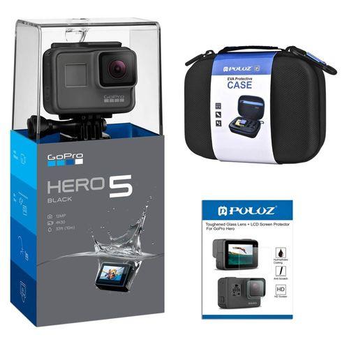 دوربین فیلم برداری ورزشی گوپرو مدل HERO 5 Black همراه با کیف و برچسب محافظ صفحه پلوز