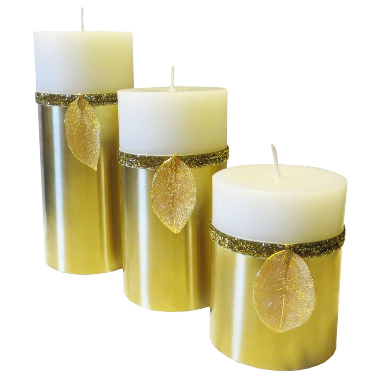 شمع استوانه طرح برگ مجموعه 3 عددی