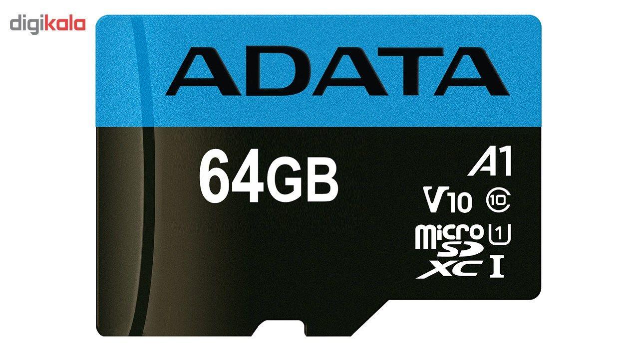 کارت حافظه microSDXC ای دیتا مدل Premier V10 A1 کلاس 10 استاندارد UHS-I سرعت 100MBps ظرفیت 64 گیگابایت main 1 1