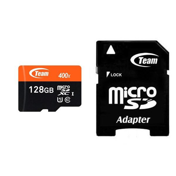 کارت حافظه microSDXC تیم گروپ کلاس 10 استاندارد UHS-I U1 سرعت 400X همراه با آداپتور SD ظرفیت 128 گیگابایت