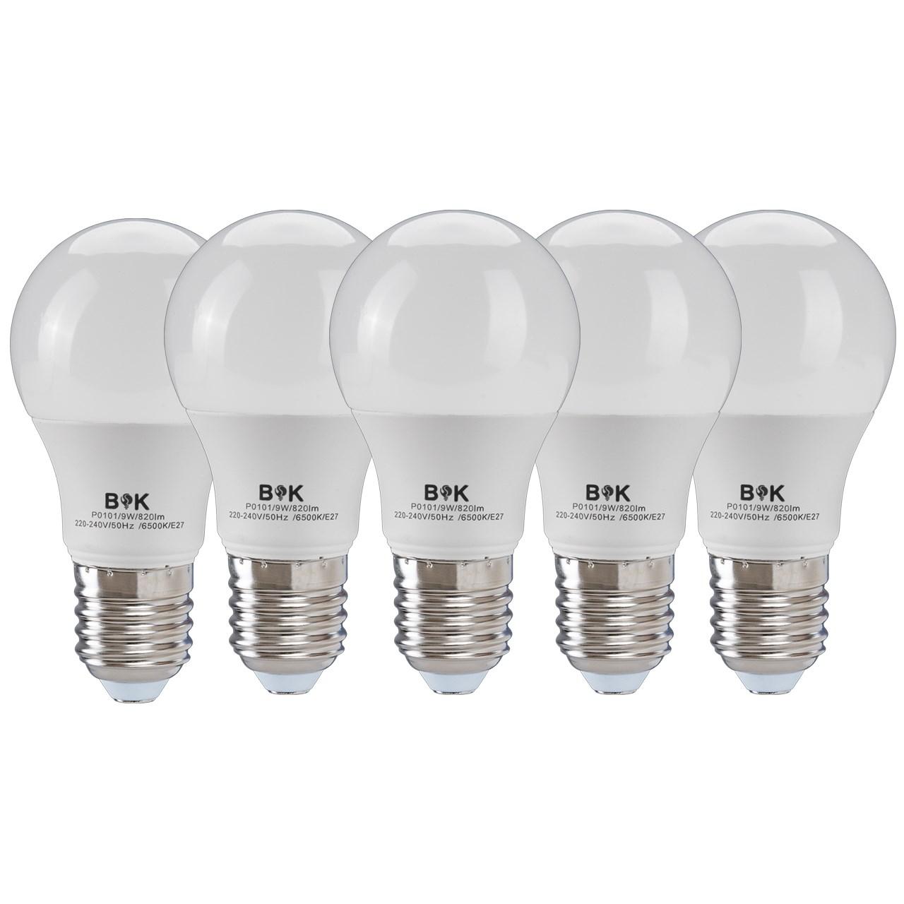 لامپ ال ای دی 9 وات بابک مدل حبابی پایه E27 بسته 5 عددی