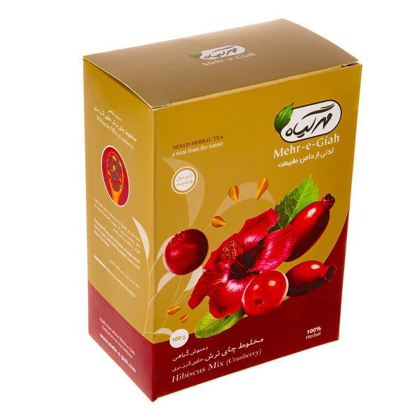 دمنوش گیاهی مخلوط چای ترش حاوی کرن بری مهرگیاه مقدار 100 گرم