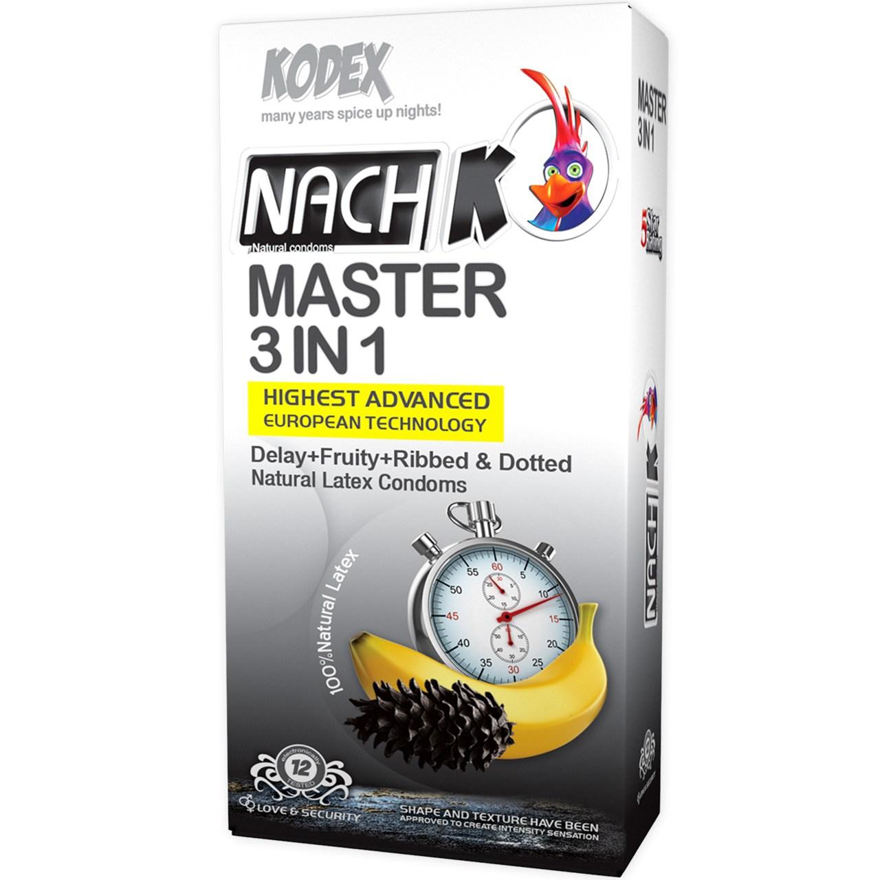 قیمت کاندوم تاخیری کدکس مدل Master 3 In 1 بسته 12 عددی