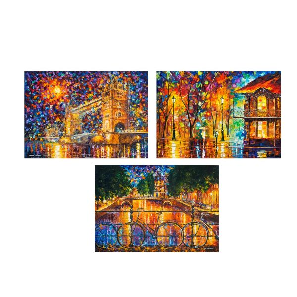 تابلو 3 تکه چاپ سی طرح معروف ترین نقاشی های جهان کد MA140