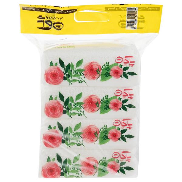 دستمال کاغذی 150 برگ پاکان مدل Rose بسته 4 عددی