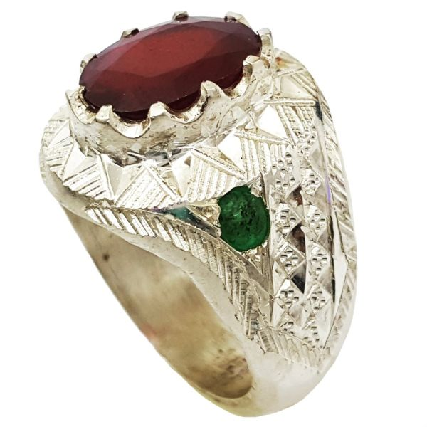 انگشتر نقره یاقوت قرمز اصل گالری احد کد 4080