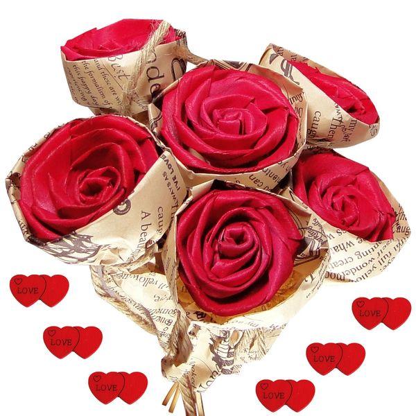 دسته گل مصنوعی مدل Red Rose کد 02135 مجموعه 6 عددی