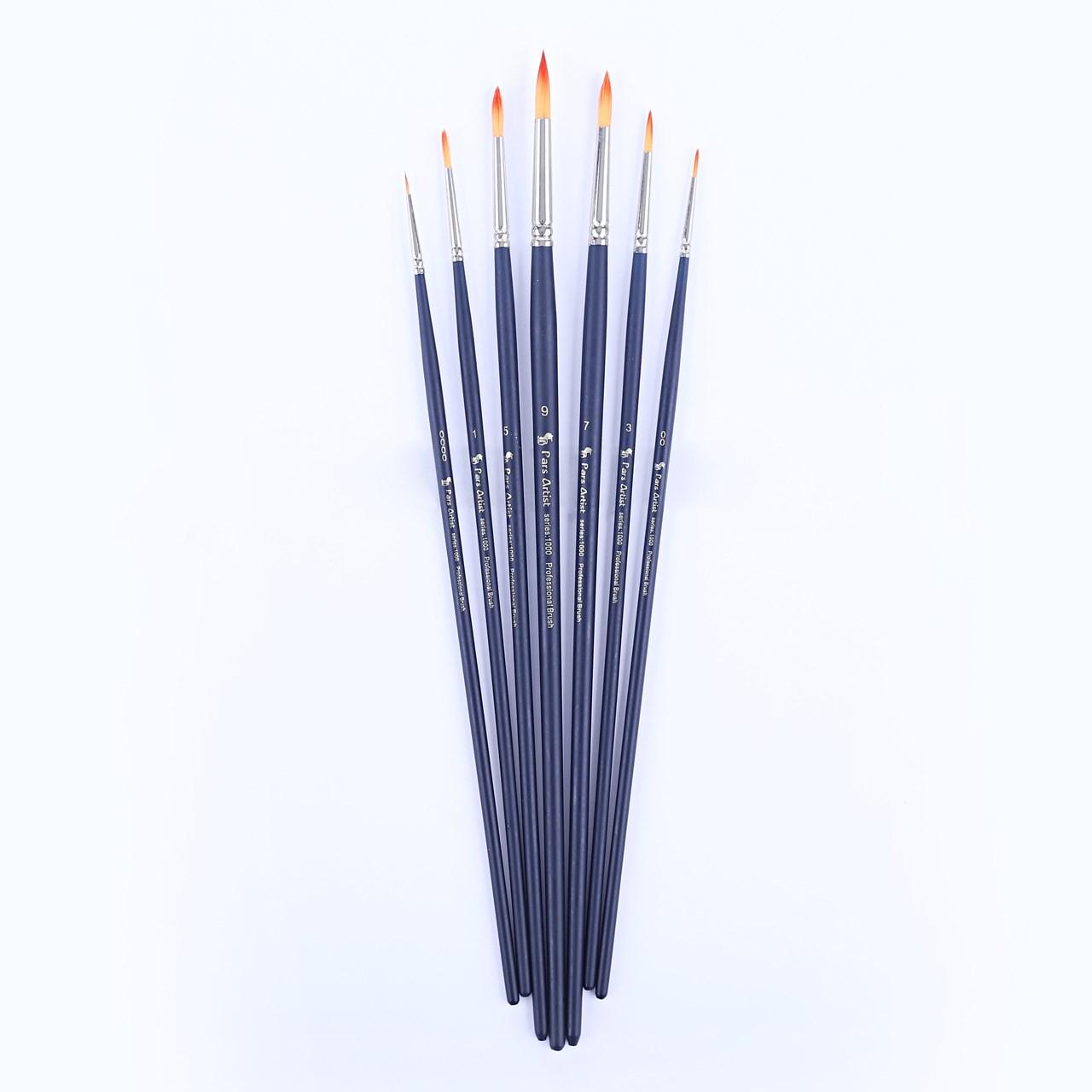 قیمت خرید قلم مو پارس آرتیست کد 1000 مدل گرد دسته بلند ست 7 عددی اورجینال