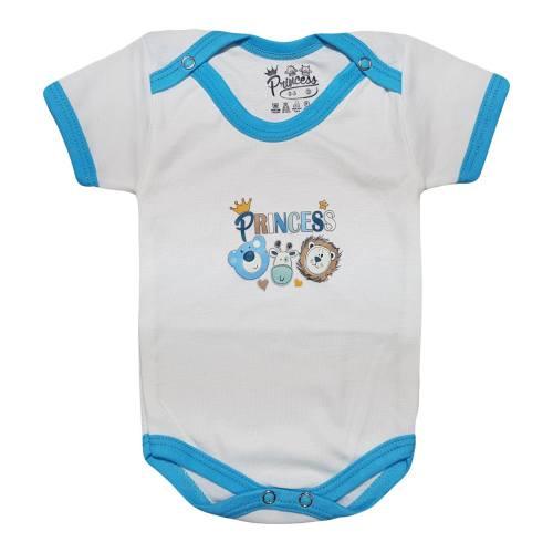 لباس زیر دکمه دار آستین کوتاه نوزادی برند پرنسس مدل BLUE-07