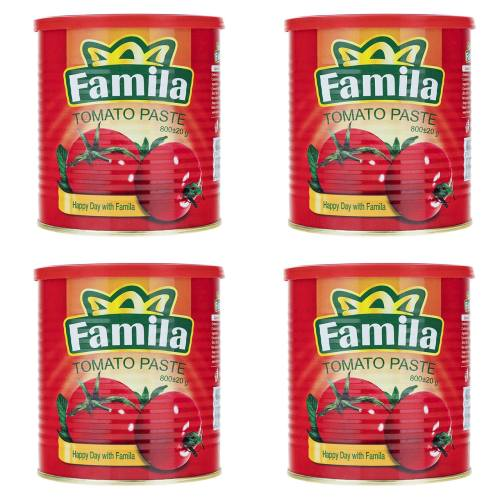 کنسرو رب گوجه فرنگی فامیلا مقدار 800 گرم بسته 4 عددی