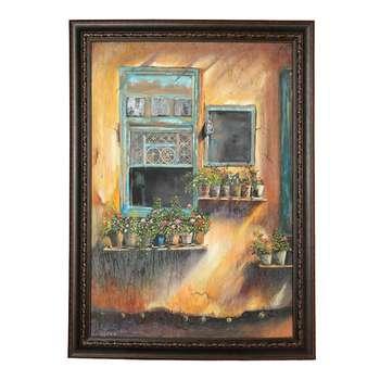 تابلو نقاشی رنگ روغن طرح دیوار ماسوله کد 02
