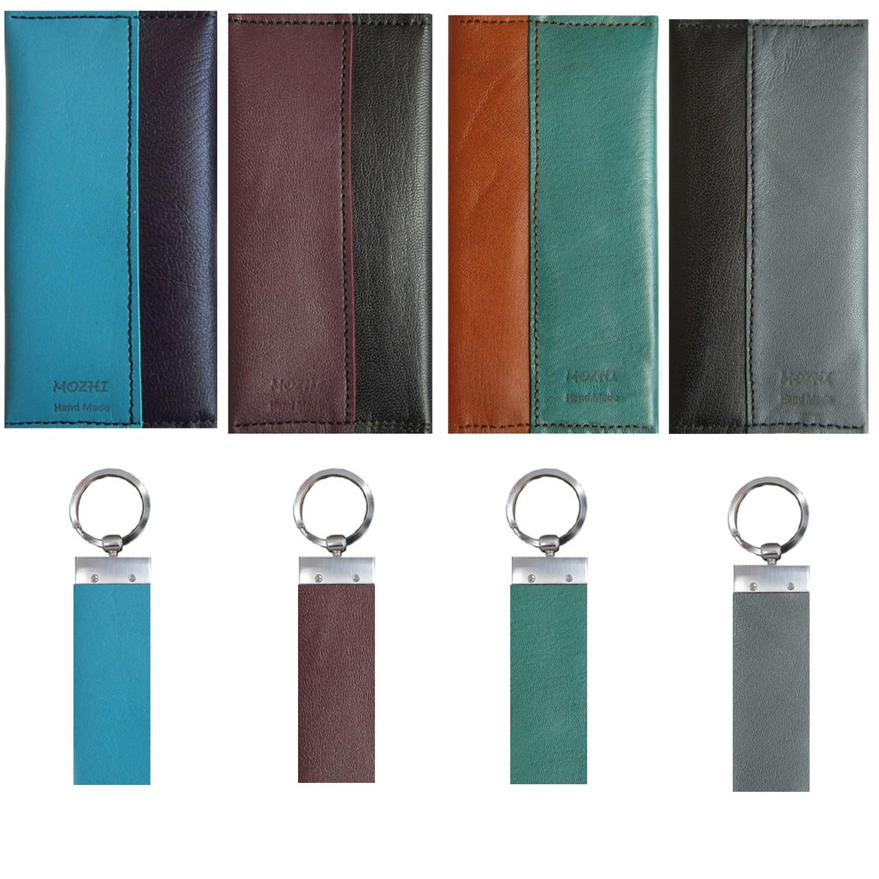 کیف پول چرم طبیعی دستدوز مژی مدل T