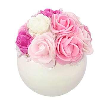 گلدان مصنوعی  با گل مدل مینیاتوری دو رنگ