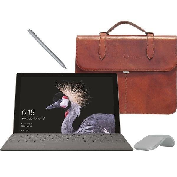 تبلت مایکروسافت مدل Surface Pro 2017 - D به همراه کیبورد و قلم و ماوس 2017 رنگ پلاتینیوم و کیف چرم صنوبر - ظرفیت 256 گیگابایت