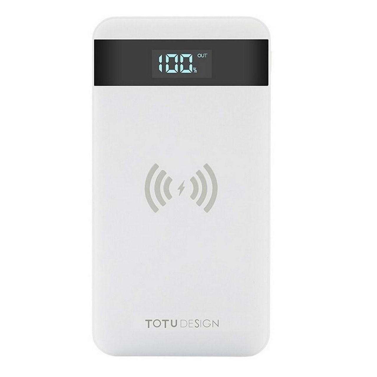 عکس پاوربانک توتو با قابلیت شارژ وایرلس مدلPBW01 با ظرفیت10000 میلی آمپر ساعت