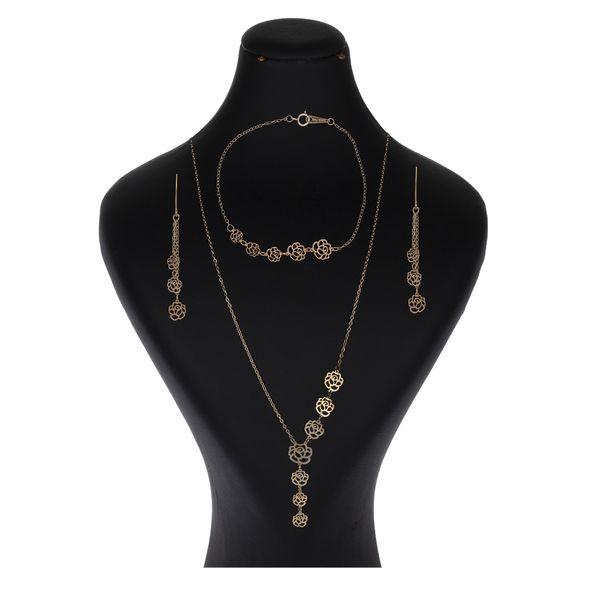 نیم ست طلا 18 عیار زنانه گالری یارطلا مدل گل رز کد NS45