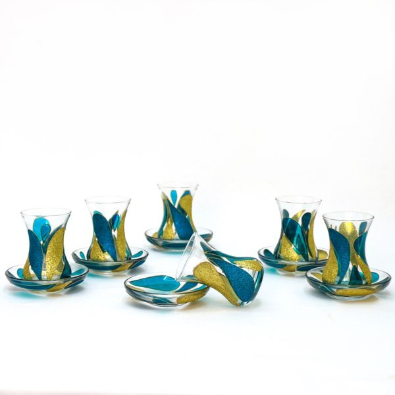 ست استکان و نعلبکی 12 پارچه گالری انار مدل اشک آبی