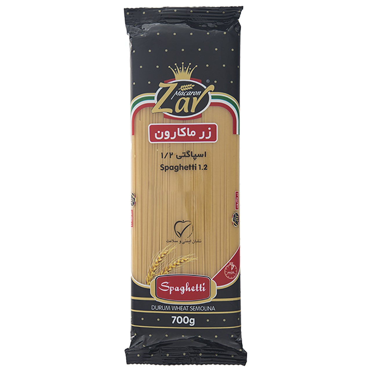 اسپاگتی قطر 1.2 زر ماکارون مقدار 700 گرم