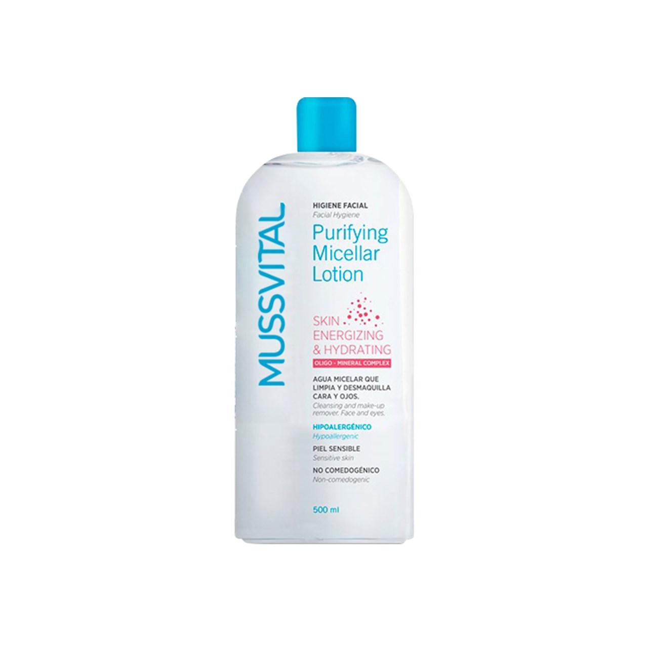 محلول پاک کننده آرایش و شست و شوی پوست موسویتال مدل Purifying Micellar Lotion بدون نیاز به آبکشی حجم 500 میلی لیتر