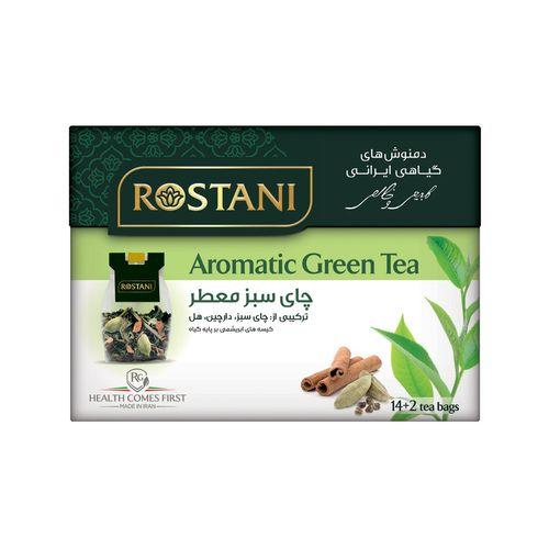 دمنوش گیاهی چای سبز معطر رستنی  مدل Aromatic Green Tea بسته 16 عددی