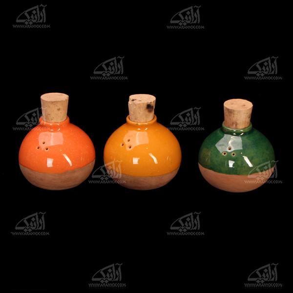 نمکدان سفالی لعاب ساده نارنجی طرح شاداب مدل 1007600003