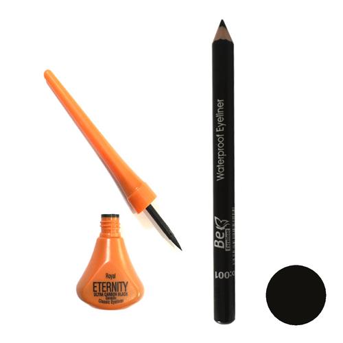 خط چشم ماژیکی رویال اترنیتی مدل ULTRA CARBON BLACK به همراه مداد چشم بی اکسلنت شماره 001