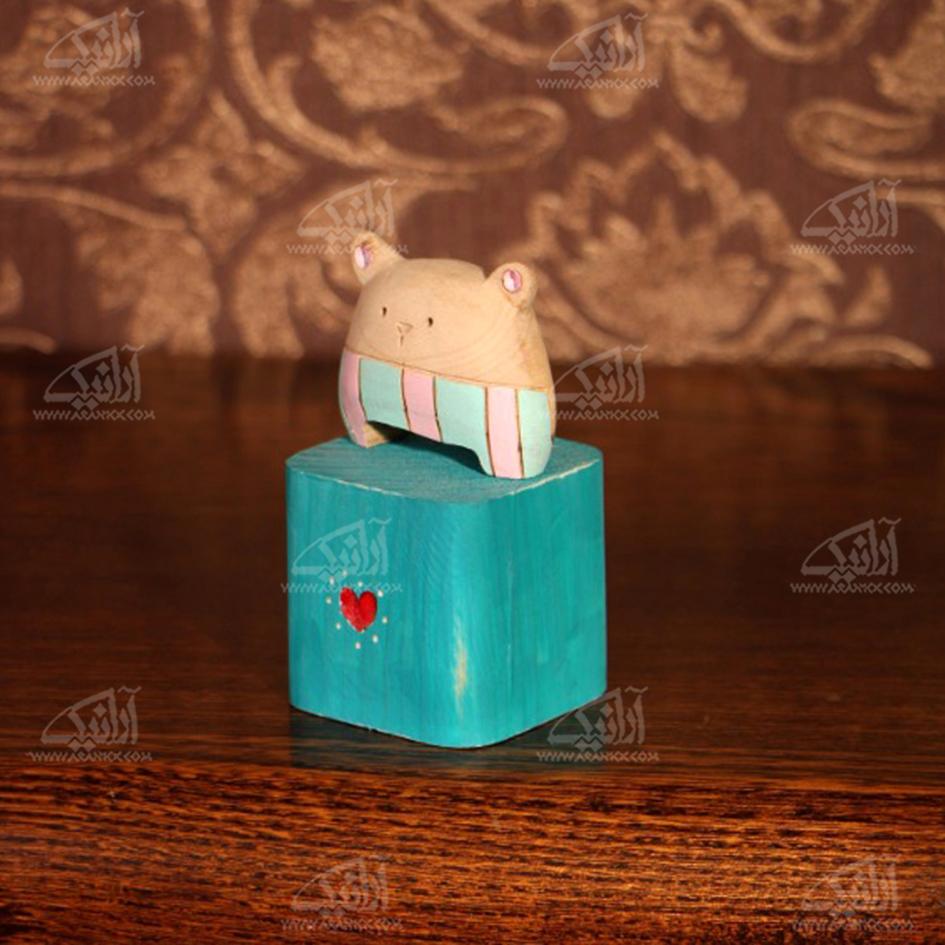 مجسمه چوبی  رنگ آمیزی رنگ آبی طرح خرس کوچولو مدل 1105900007