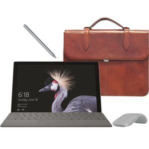 تبلت مایکروسافت مدل Surface Pro 2017 - A به همراه کیبورد و قلم و ماوس 2017  رنگ پلاتینیوم و کیف چرم صنوبر  - ظرفیت 128 گیگابایت