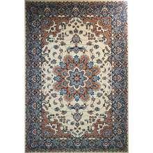 فرش ماشینی ساوین کد 2103 زمینه کرم حاشیه آبی صورتی