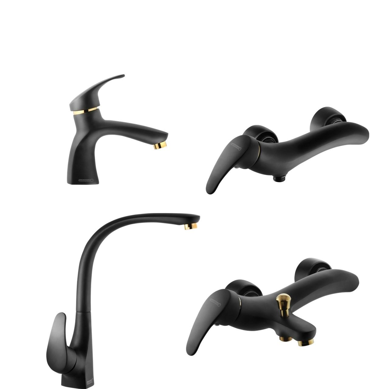 "<span style=""font-family:tahoma;"">ست شیرآلات درخشان مدل بیوتی بلک Derakhshan Black Beauty Set Faucets</span>"