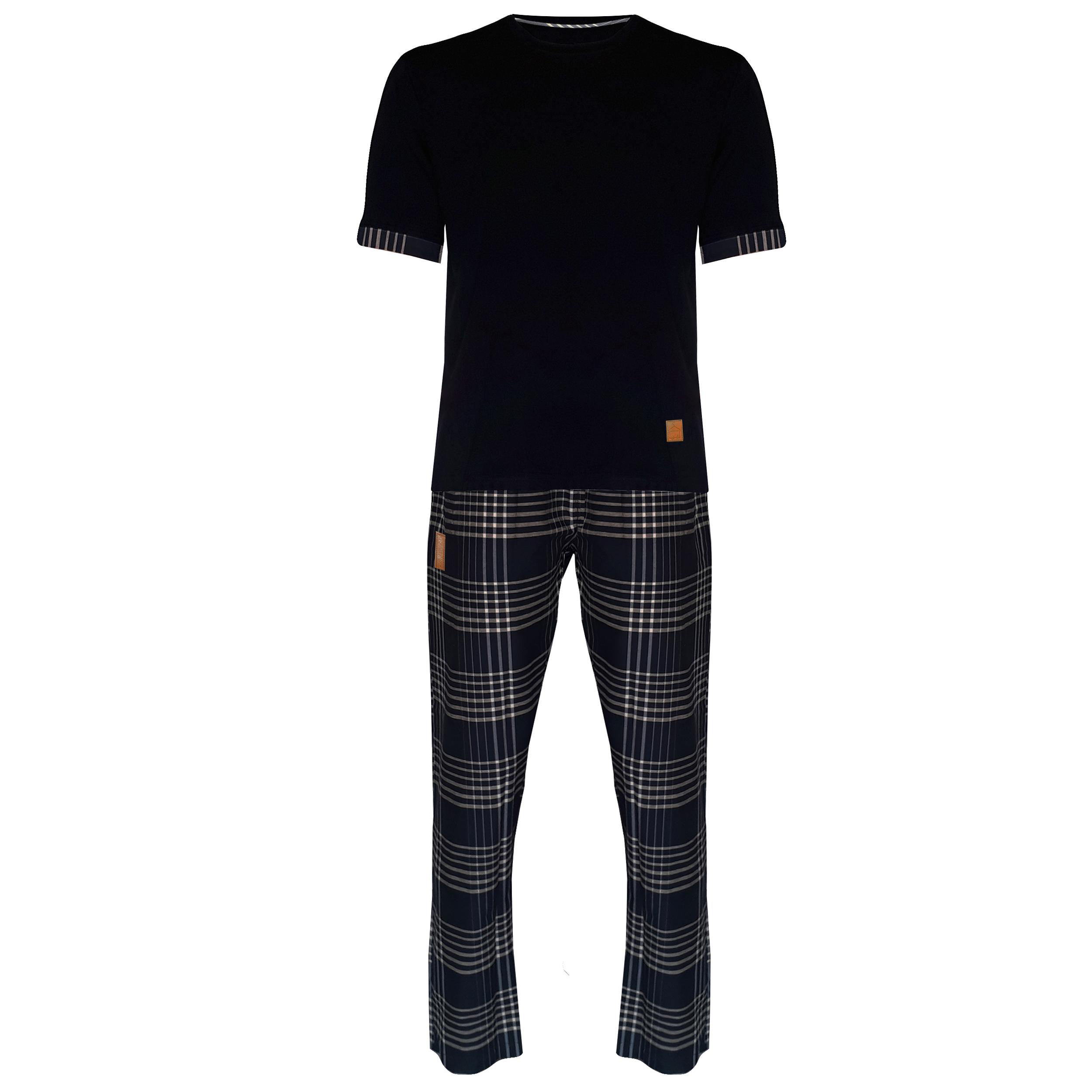 ست تی شرت و شلوار مردانه لباس خونه مدل طه کد 4445420-991120 رنگ سرمه ای