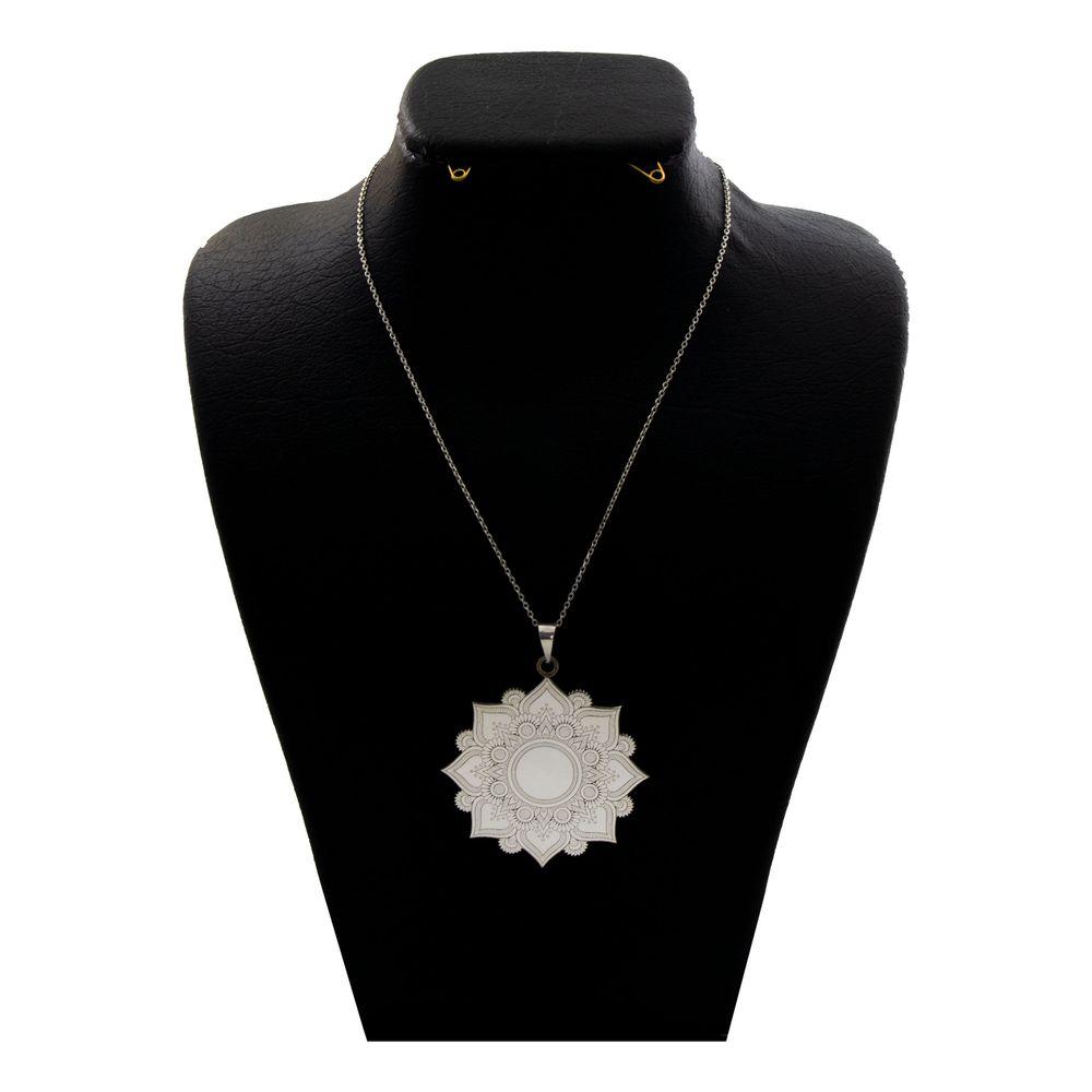 گردنبند نقره زنانه دلی جم طرح گل اسلیمی  کد D86