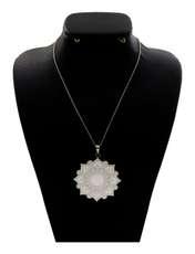 گردنبند نقره زنانه دلی جم طرح گل اسلیمی  کد D86 -  - 1
