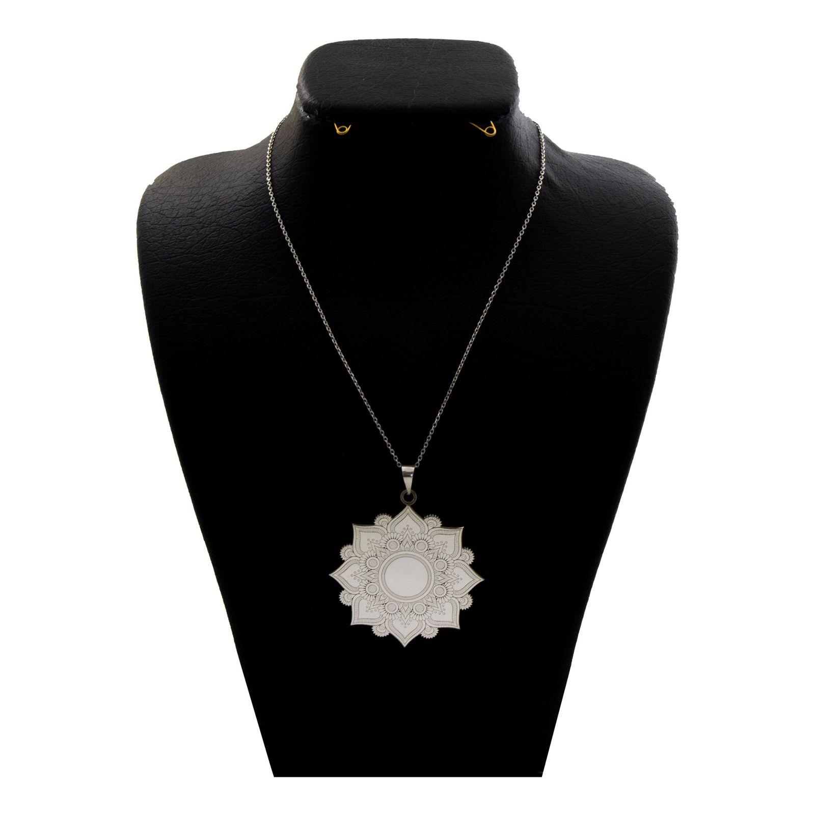 گردنبند نقره زنانه دلی جم طرح گل اسلیمی  کد D86 -  - 2