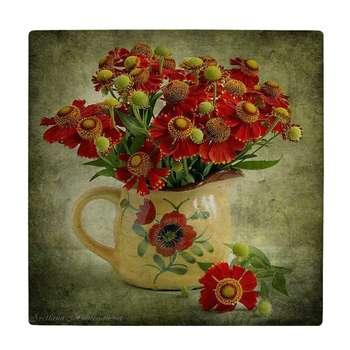کاشی طرح گلدان گل کد wk637