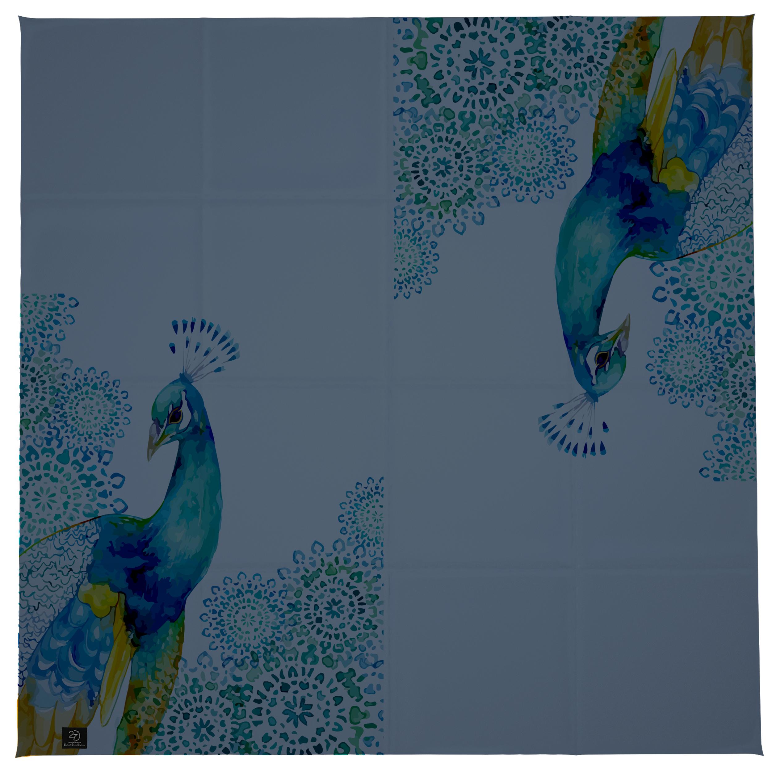 روسری زنانه 27 طرح طاووس کد H04 -  - 2