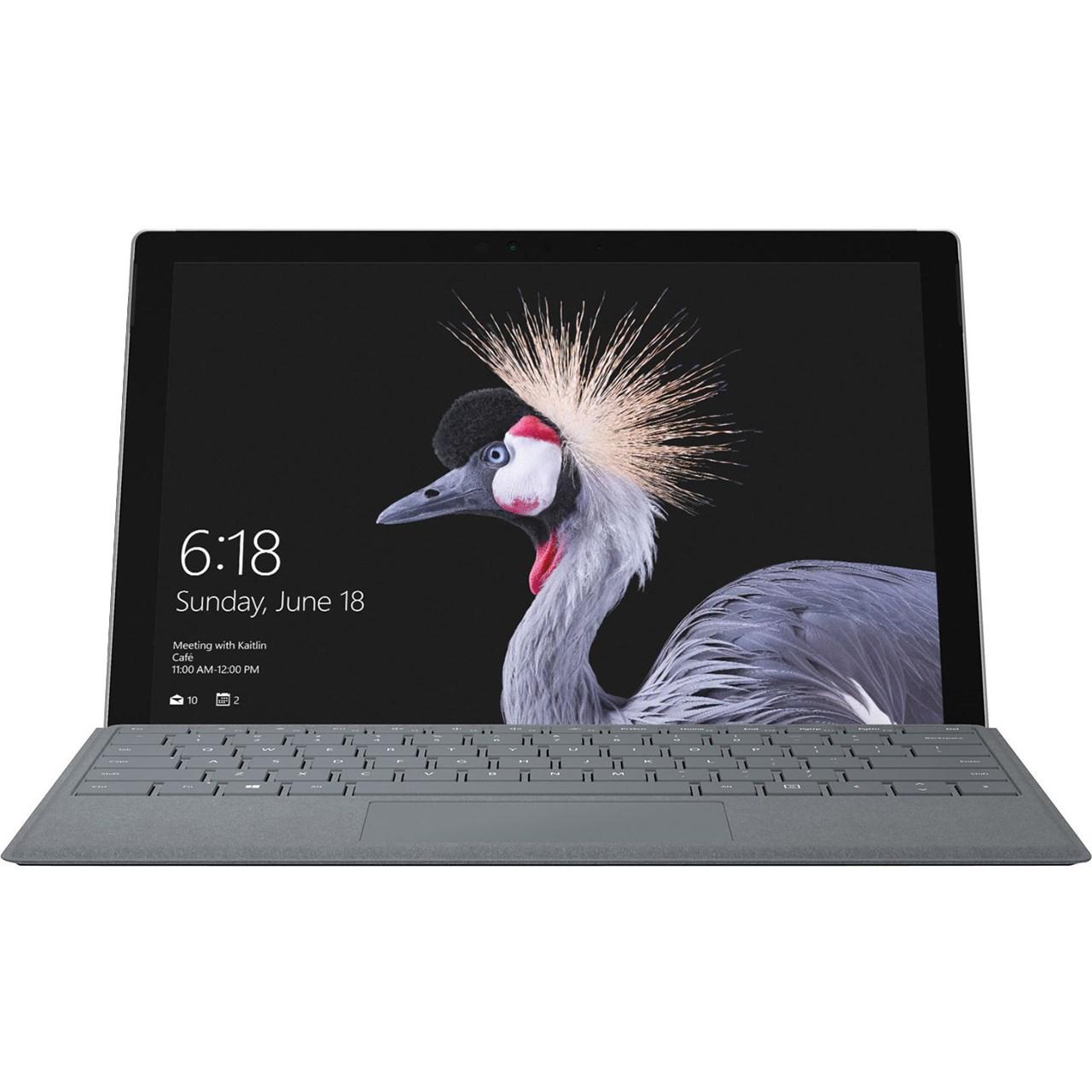 تبلت مایکروسافت مدل Surface Pro 2017 - E به همراه کیبورد سیگنیچر رنگ پلاتینیوم و کیف چرم صنوبر  - ظرفیت 512 گیگابایت